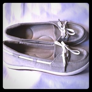 Keds silver shine canvas slip on loafers 👞